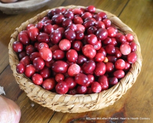 Fresh cranberries for Cranberry Tarts.