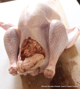 A turkey stuffed with a good forcemeat (stuffing) and being prepared to be boiled.