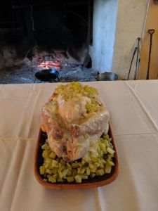 The stewed turkey served with celery sauce.