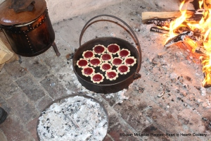 The Cranberry Tarts were baked in a bake kettle with coals underneath the kettle and on the lid to make an oven.