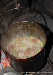 """Season the receipt (recipe),""""To make Essence of Ham"""", with Mushrooms, a Leek, Parsley and Cloves.  Then add crusts of bread and simmer ."""