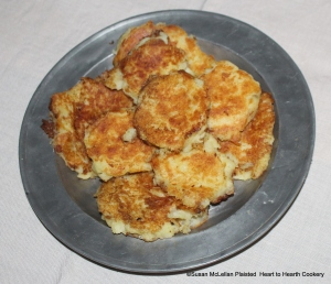 """The complete receipt (recipe) """"Potato-Cakes"""" almost ready for service to table. A sauce of butter, sack (very dry sherry) and sugar will be poured over them."""