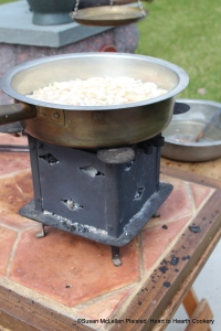 "After the apples have been pared and sliced very thin for the receipt (recipe) ""Paste of Oringes"", then put them into a skillet with a little fair water, set it on the fire (my brazier filled with hard wood coal) and keep it boiling and stirring till it be very soft."