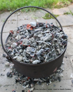 """Due to the pandemic, the receipt (recipe) """"Plum Tart-my Lady Sheldons Receipt"""" was baked in my original bake kettle in my back yard. I used my fire pit to make the wonderful embers that provided the heat to bake the tart nicely."""