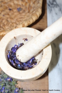 "After the borage flowers have been picked for the receipt (recipe) ""Past of Burage: Mrs Whiteheads"", it is beat severally in a marble mortar and pestle."