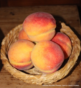 """The first step for the 17th century receipt (recipe) """"To bake Mellacattons"""" is to take mellacattons.  Pictured is a basket of mellacattons-peaches."""