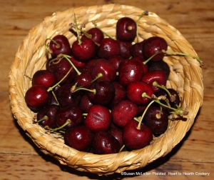 """Fresh cherries ready for the receipt (recipe) """"To make a Cherry Tart"""" from the 17th century receipt book """"The Accomplis't Cook"""" by Robert May."""