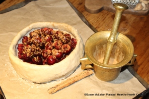 "After the stoned cherries were laid in the tart for the receipt (recipe) ""To make a Cherry Tart"", beaten cinnamon was added.  The Ceylon cinnamon was beaten in a brass mortar and pestle."