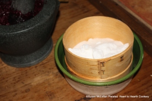 "Sugar is finely sifted through a horse hair sieve for the receipt (recipe) ""To make Crimson Biscuit of Red Beet-Roots""."