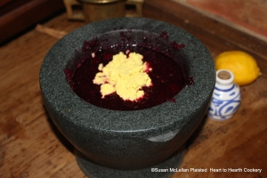 "The ""butter"" made from egg yolks is then added to the beets and fine sugar in the mortar for the receipt (recipe) ""To make Crimson Biscuit of Red Beet-Roots""."