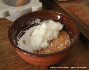 """After the fine sugar powdered has been added to the bowl with the sieved quince for the receipt (recipe) """"Quince Cream"""" whites of eggs are beaten stiff are next."""