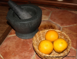 """For the receipt (recipe) """"To make Orange Cheese Cake"""" you will need three sevile oranges and a large mortar and pestle."""