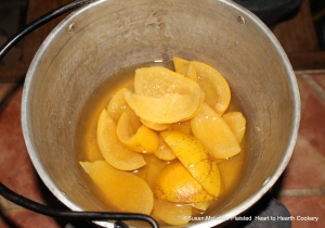 "The peels of three Seville oranges for the receipt (recipe) ""To make Orange Cheese Cakes"" were boiled 'till they are tender changing the water to take off the bitterness."