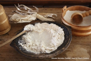 The next step in the preparation of maize Tunnbröd (a New Sweden flatbread) was to add water to the finely ground Puhwem maize.