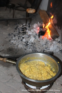 "After the eggs have been mixed with mashed bread soaked in gravy, butter and diced preserved lemon peel for the receipt (recipe) ""To butter Eggs in the Polonian Fashion"" it is cooked on a Chafing-dish of coals."
