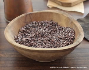 """After the fermented cacao beans have been roasted and the hulls removed, the beans become nibs and have the full aroma and flavor of chocolate but not a smooth texture that is needed to prepare the receipt (recipe) """"To make Chocolate with Water"""""""