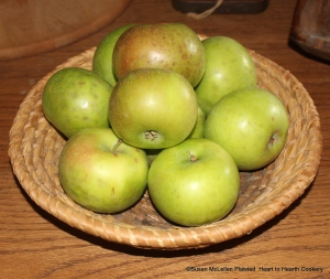 Rambour Franc is a 16th century heirloom apple of French origin that became popular in the American colonies. The apple was referred to as Summer Rambour in this country and changed to Summer Rambo by the 1850's. With a bushel of Summer Rambo on my porch, I will be using them in receipts (recipes).