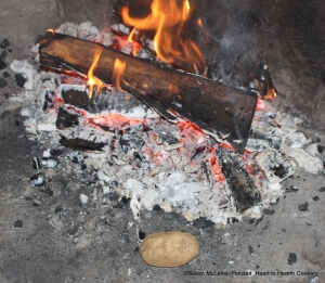Instead of boiling potatoes for the 1744 receipt (recipe)To make Potato-Pudding,the potatoes were baked relatively quickly on the hot hearth with established embers.
