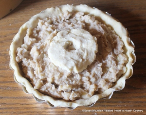 After the potato pulp has been mixed with the chopped apples, cream, sugar, cinnamon and cloves for the receipt (recipe)To make Potato-Pudding put all into a Paste(pie crust).